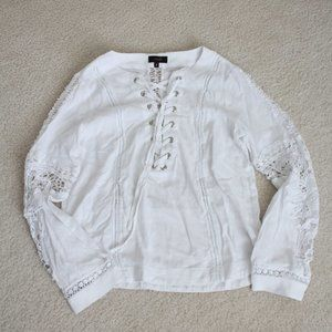 FOREVER 21 WHITE LACE BLOUSE (NWOT) s/m